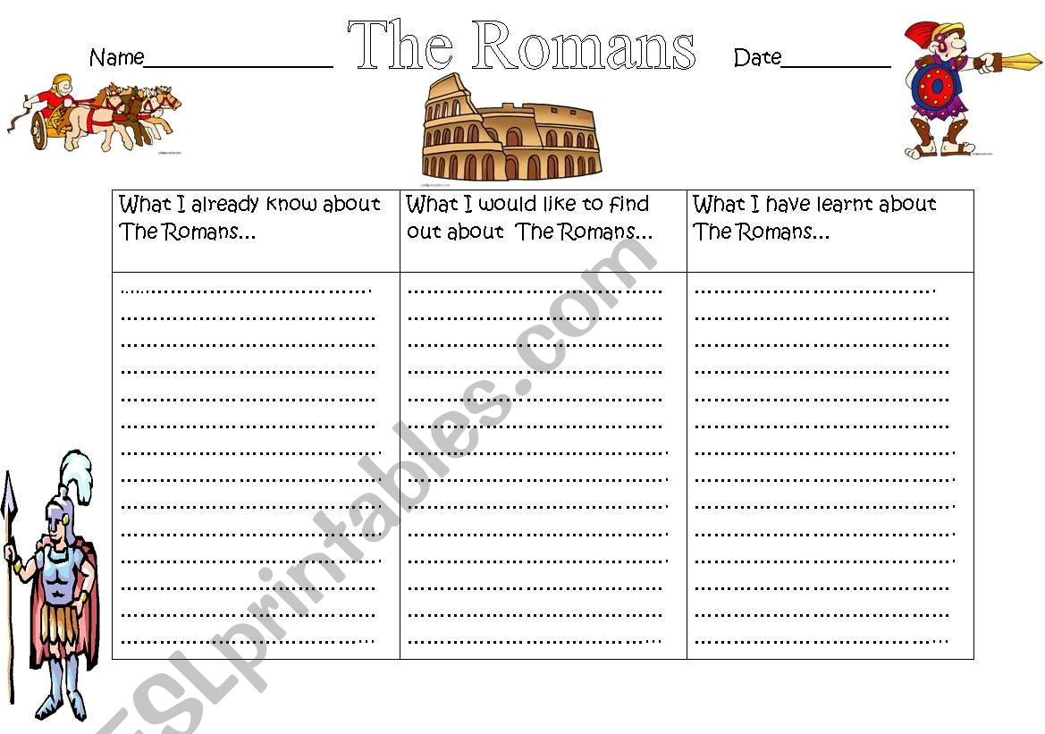 English Worksheets The Romans Kwl Chart