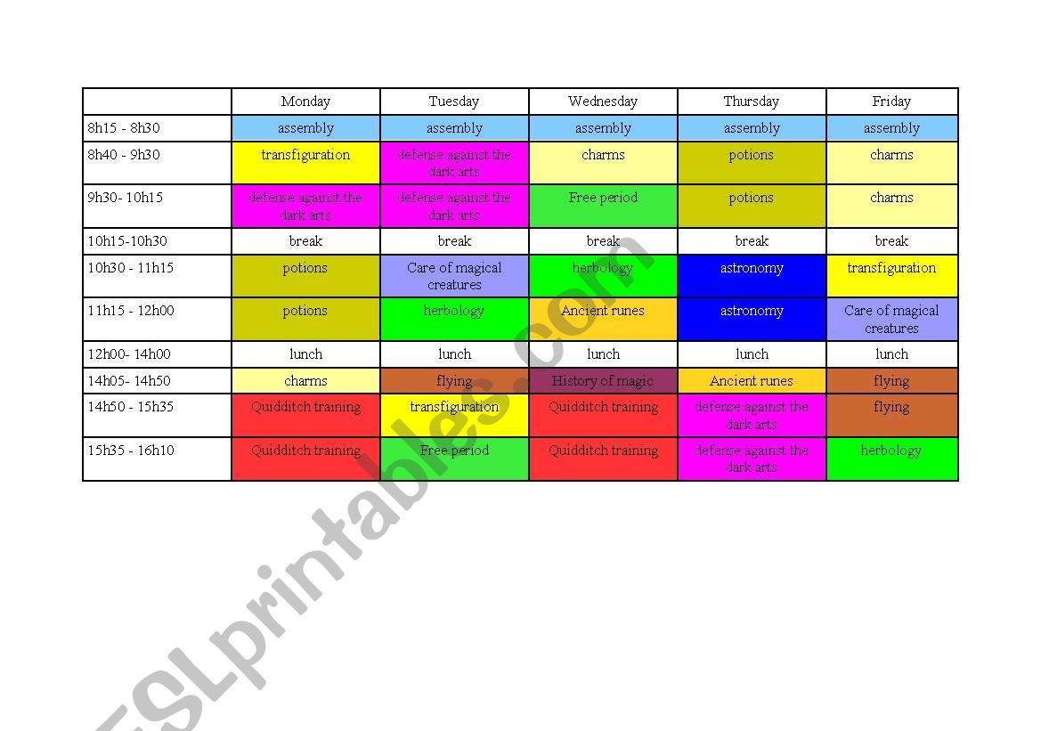 Harry Potter S Timetable Practise Speaking