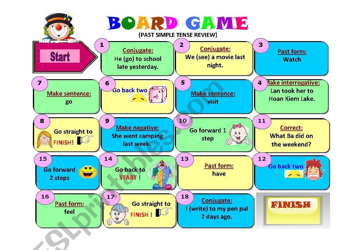 Board Game Past Simple Tense Review