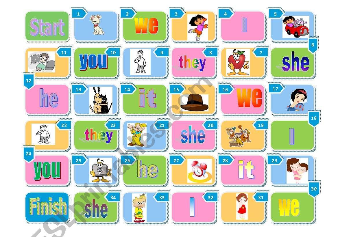 Personal Pronouns Boardgame