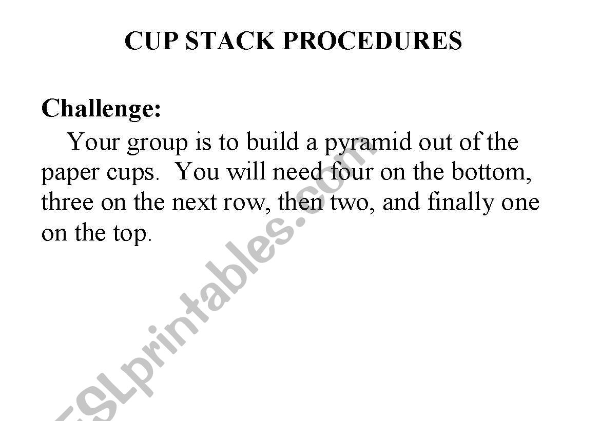 English Worksheets Team Builder Cup Stack