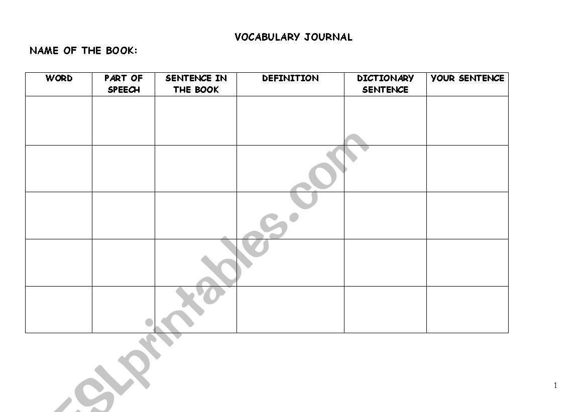 English Worksheets Vocabulary Journal