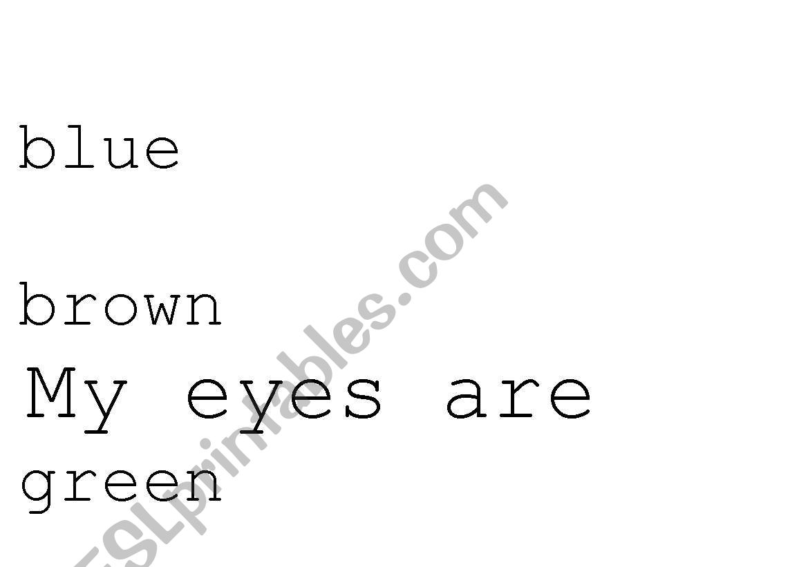 English Worksheets My Eyes Are