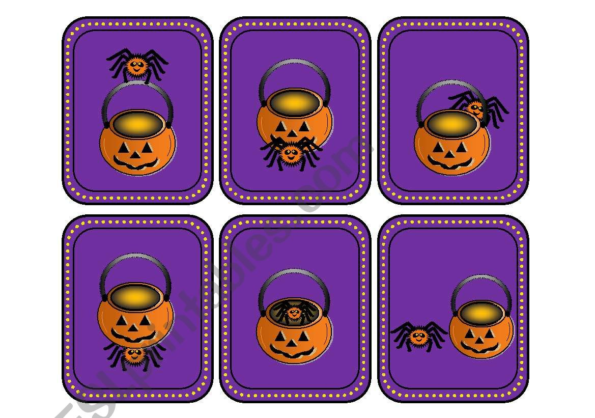 Where Is The Spider Halloween Preposition Cards With 18