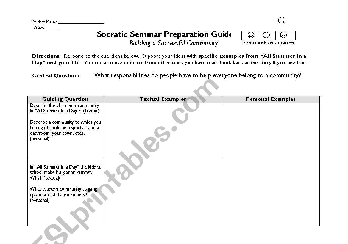 English Worksheets Building A Better Community Socratic