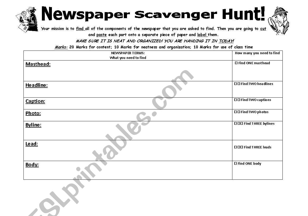Newspaper Scavenger Hunt