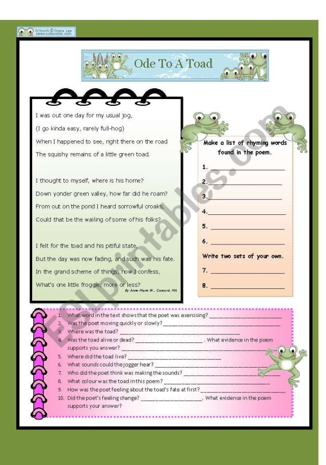 Ode to a Toad - ESL worksheet by tech_teacher