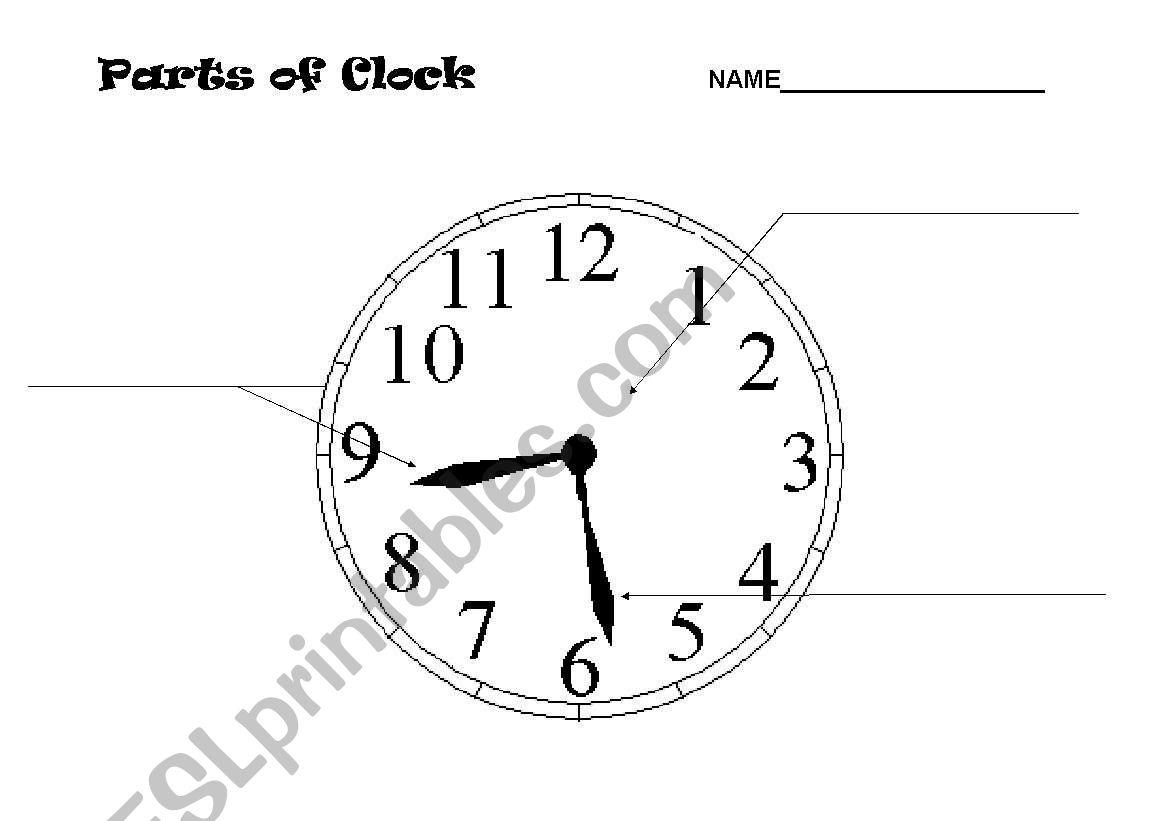 English Worksheets Parts Of A Clock