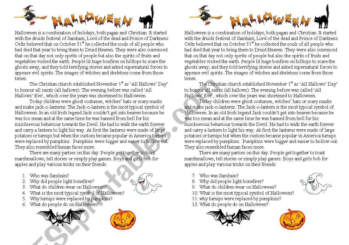 Halloween Reading Exercises