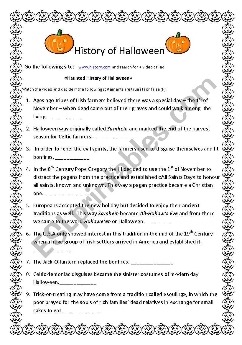 history of halloween worksheet channel | cartooncreative.co