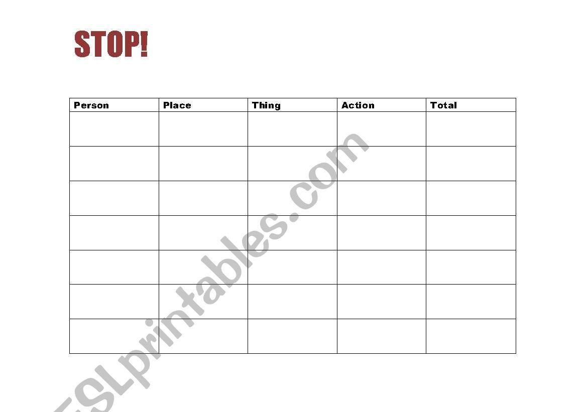 English Worksheets Stop Game