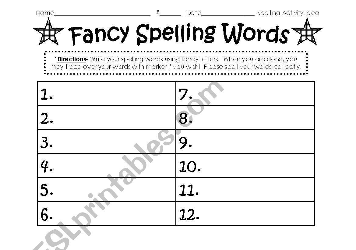 English Worksheets Spelling Word Activity