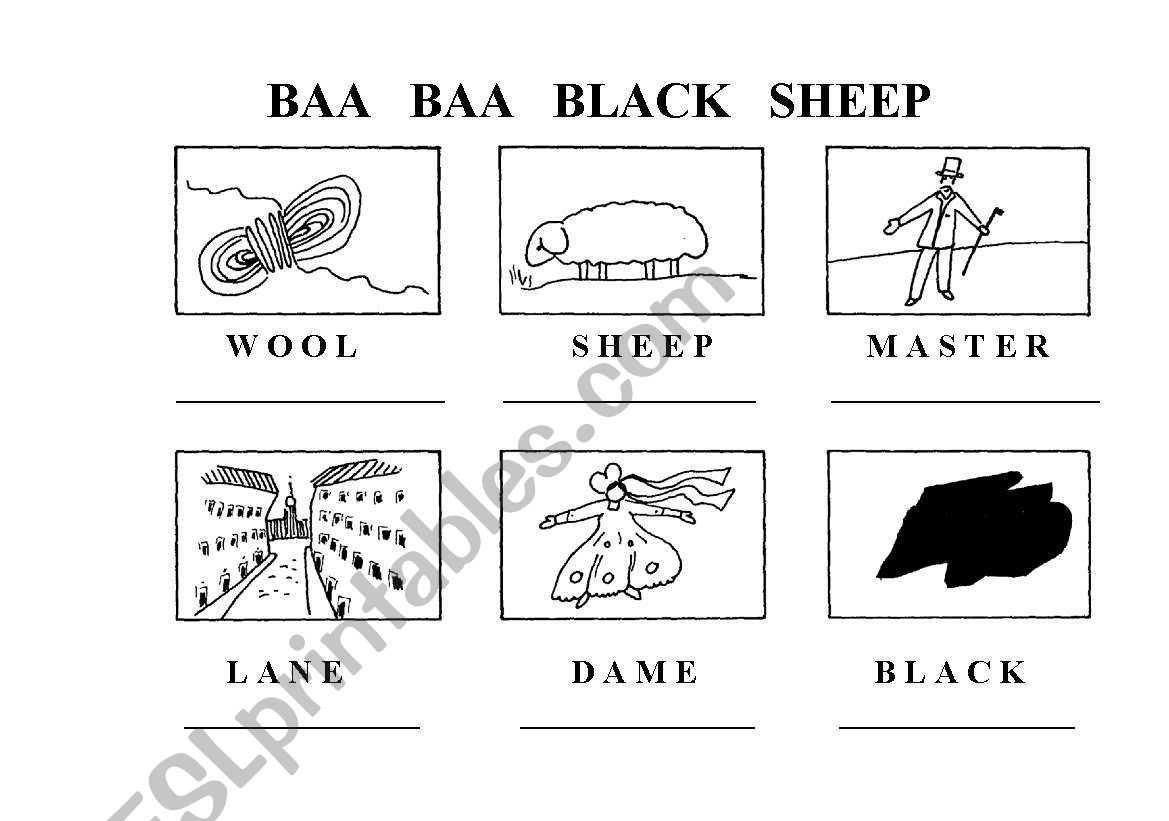English Worksheets Baa Baa Black Sheep
