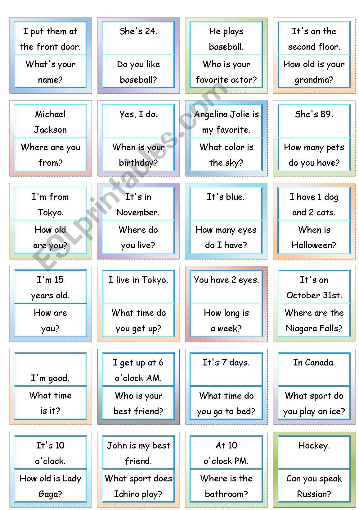 Loop Game Fun Speaking Activity 48 Cards A3 Paper