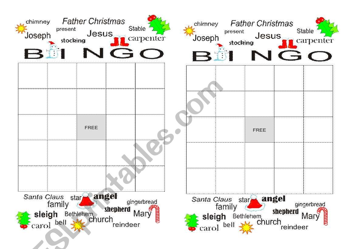 English Worksheets Christmas Bingo