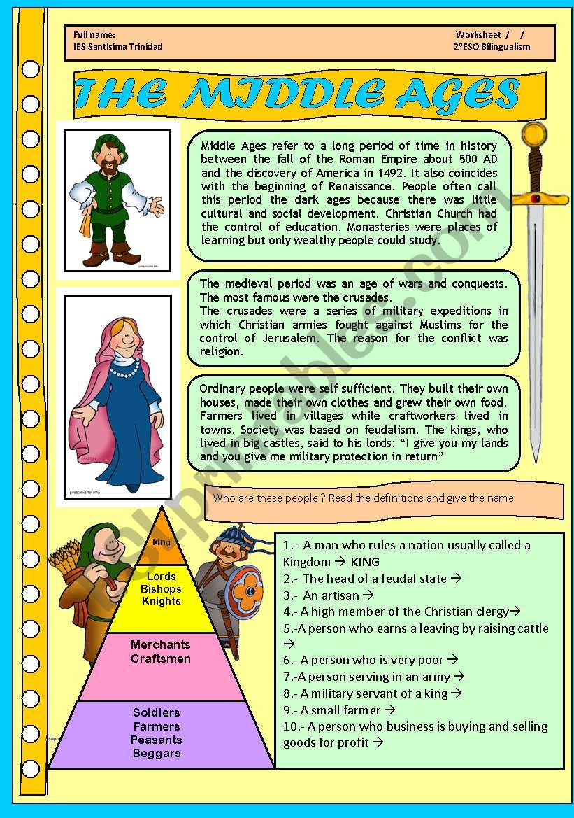 The Middle Ages For Children 4 Pages With Activities