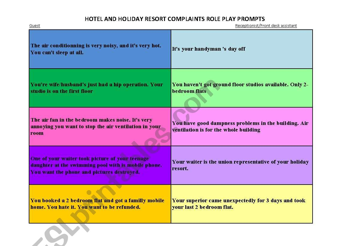 Hotel And Holiday Resort Complaint Role Play