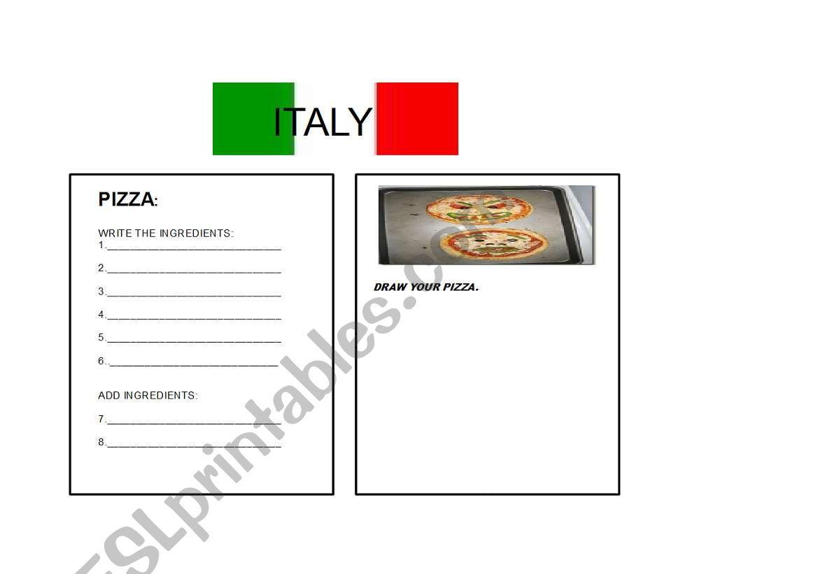 English Worksheets Italian Recipe