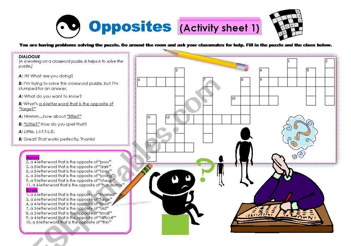 Opposite Words Conversation Amp Crossword