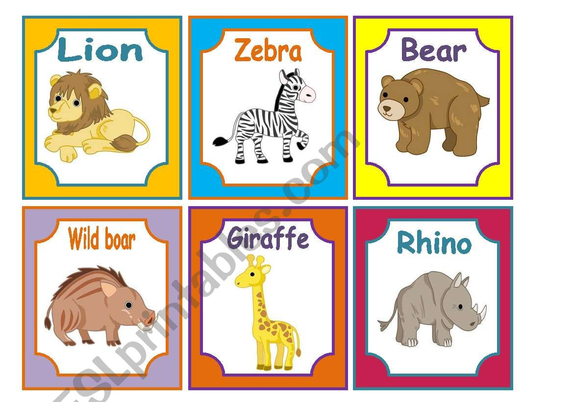 Animals Flashcards 2 3 Wild Animals 24 Cards