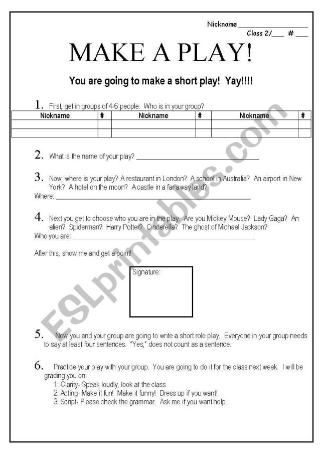 Make a short play - ESL worksheet by jessafish