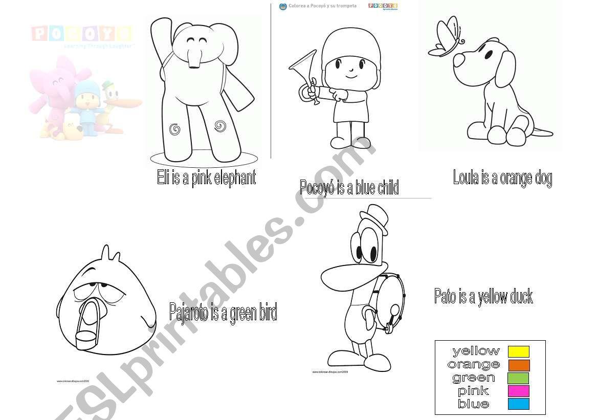 English Worksheets Color Pocoyo