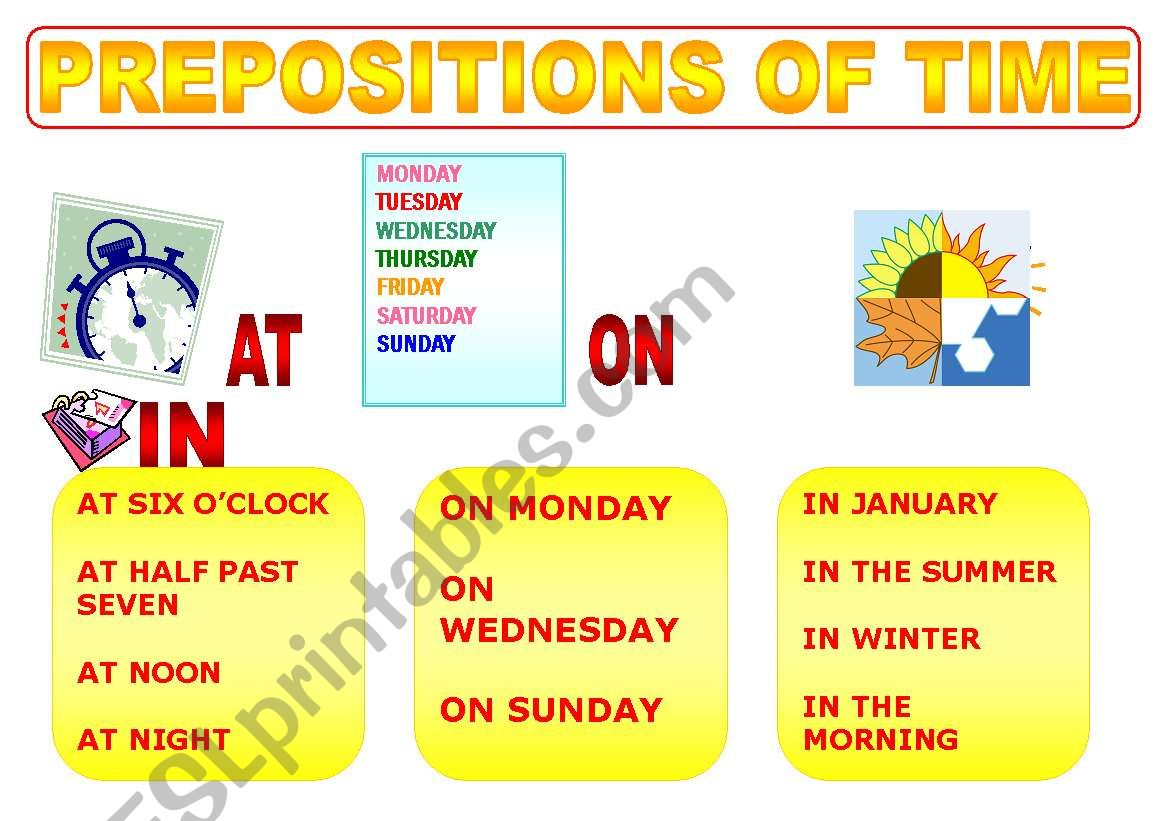 Prepositions Of Time Poster
