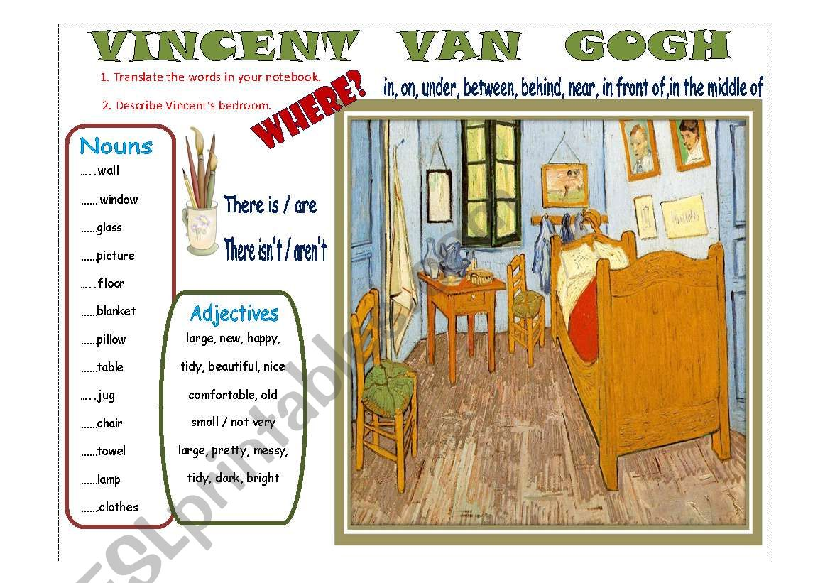 Writing Vincent Van Gogh S Bedroom