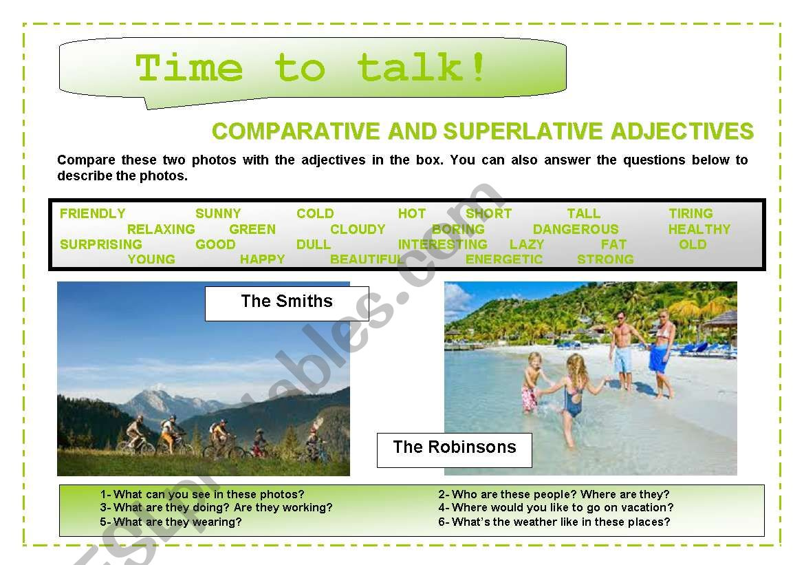 Time To Talk 1 Comparative And Superlative Adjectives
