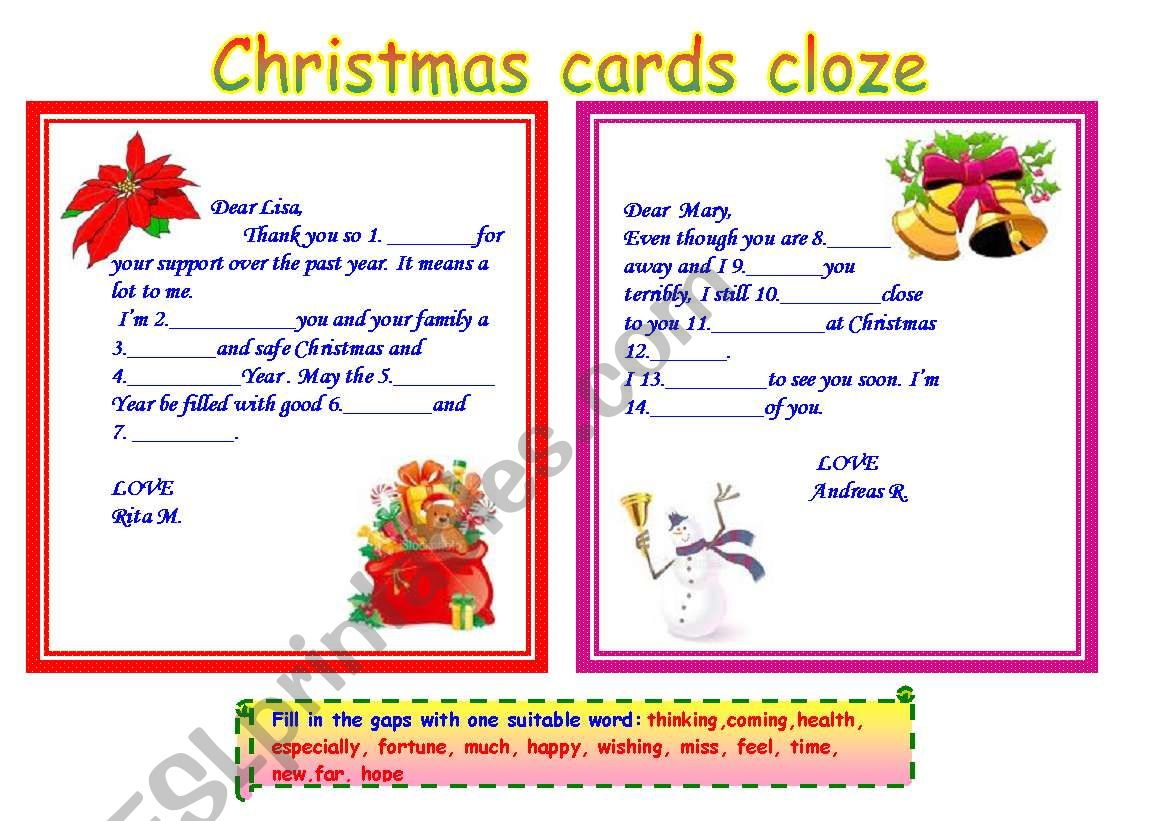 Christmas Cards Cloze