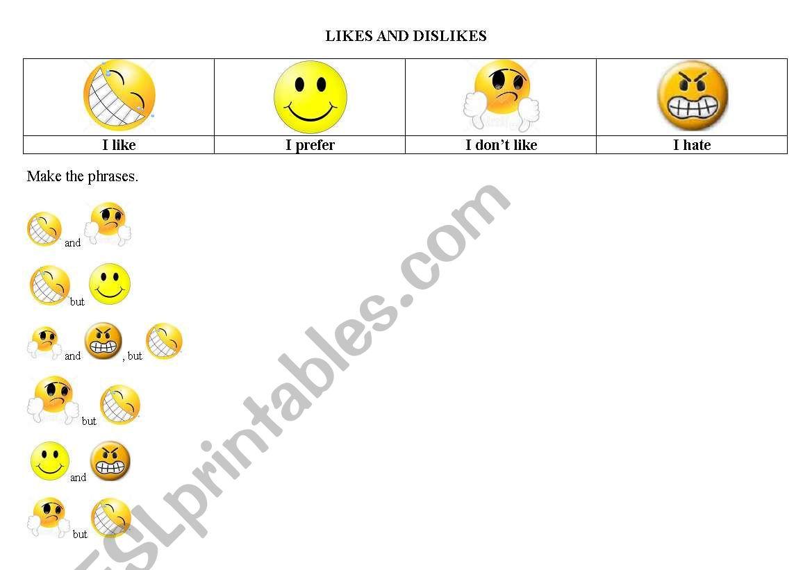 English Worksheets Likes And Dislikes