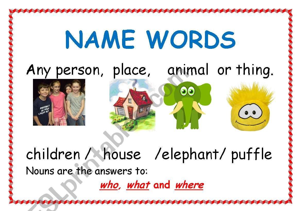 Nouns Adjectives Verbs