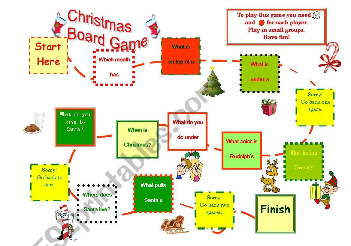 Christmas Board Game With Preposition Focus