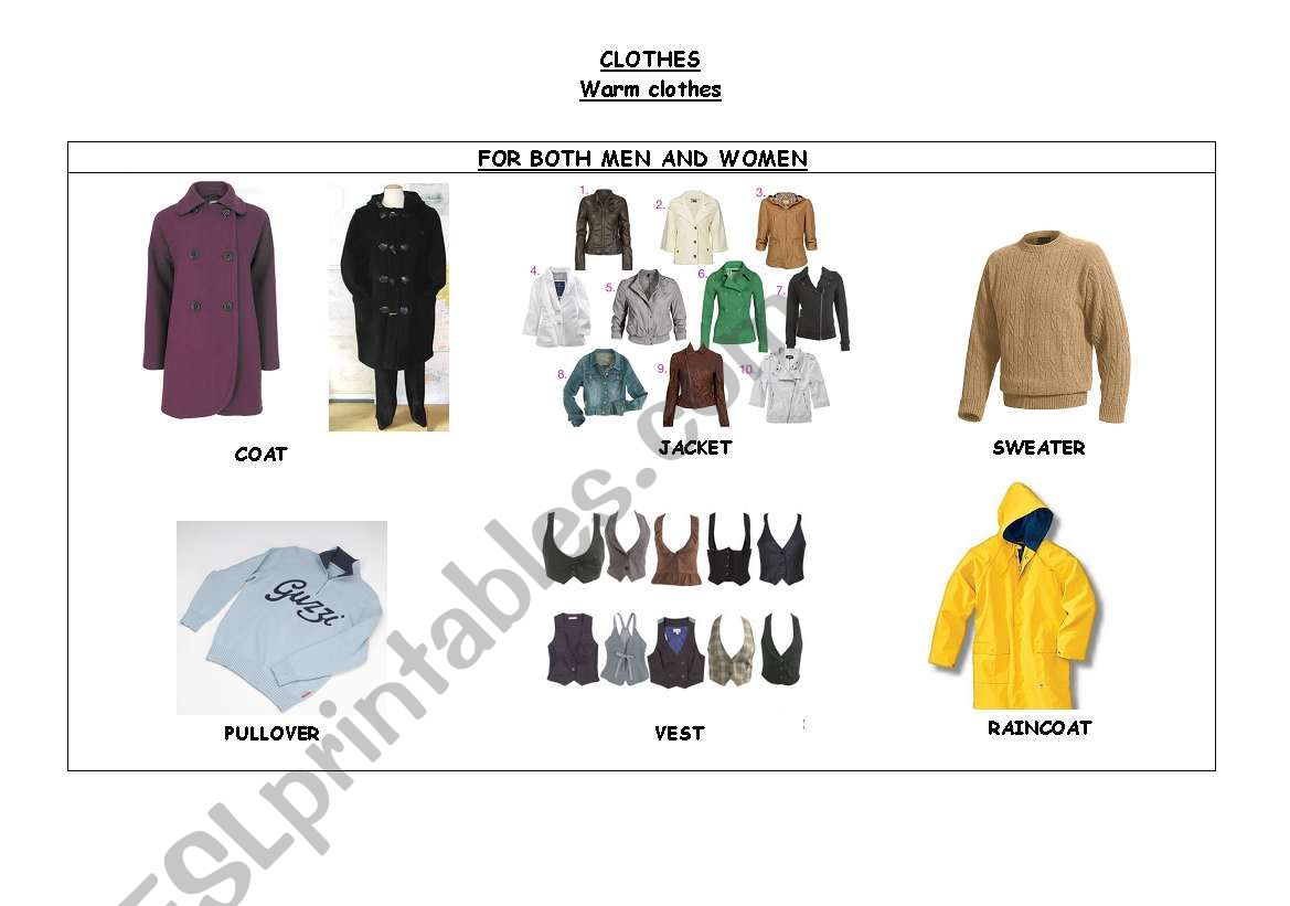 English Worksheets Clothes Warm Amp Summer Clothes