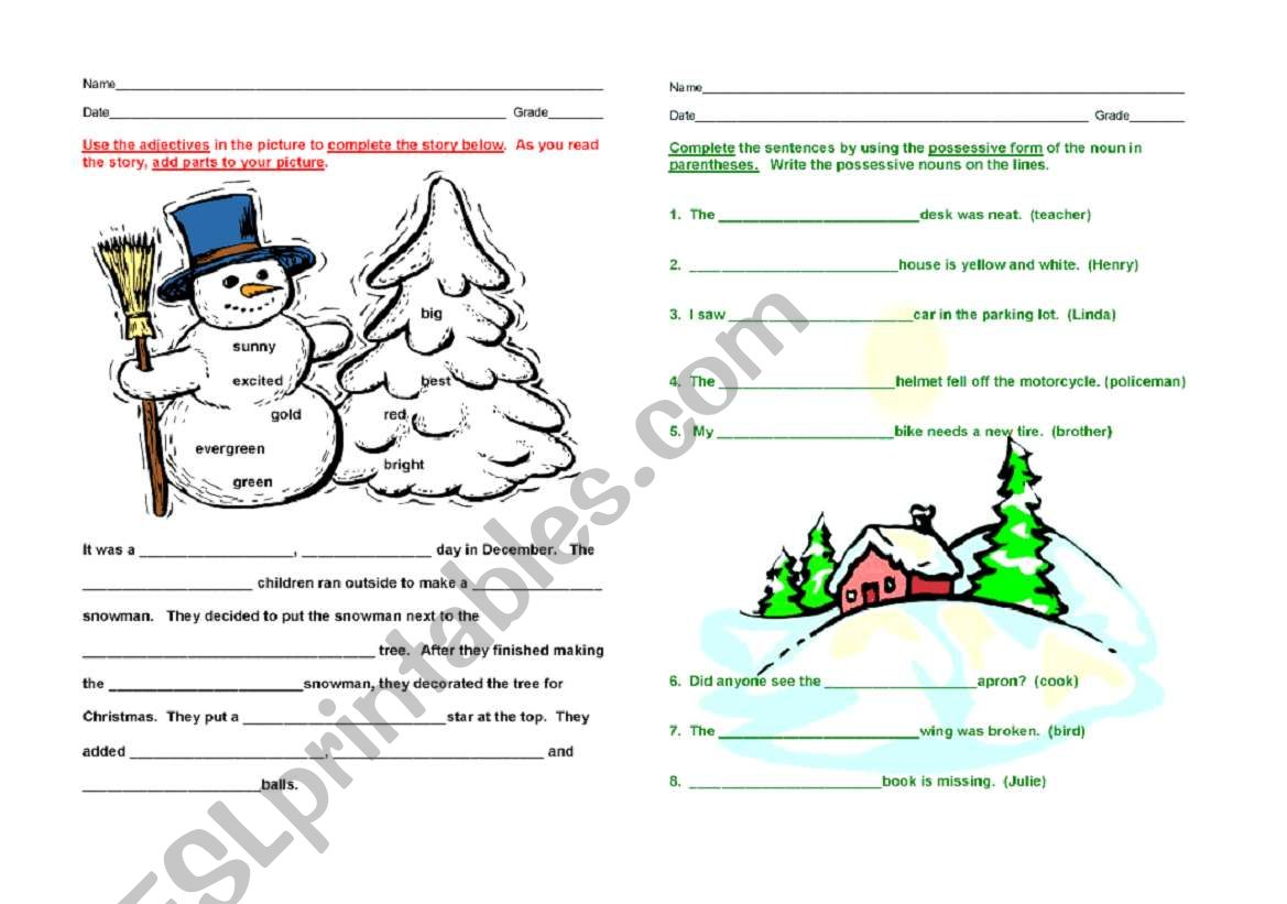 Nouns And Adjectives Winter
