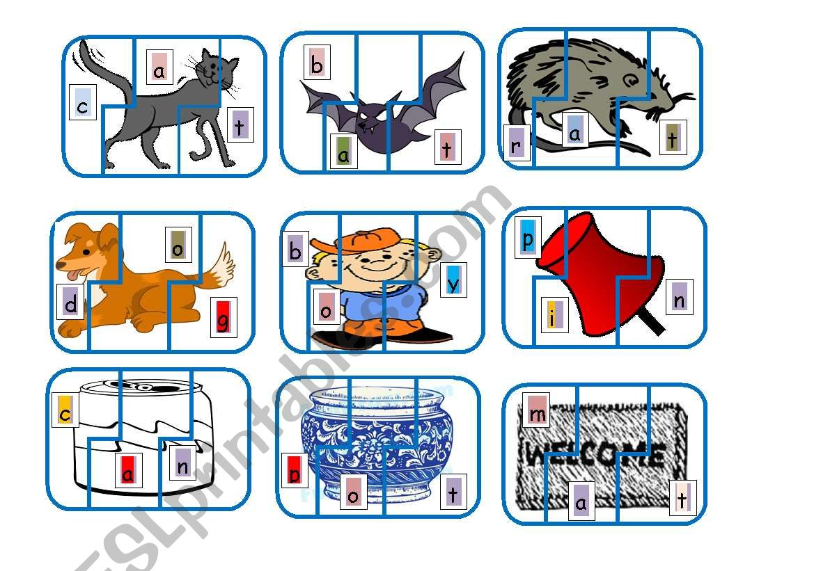 English Worksheets Cvc Sound Jigsaw Matching Game