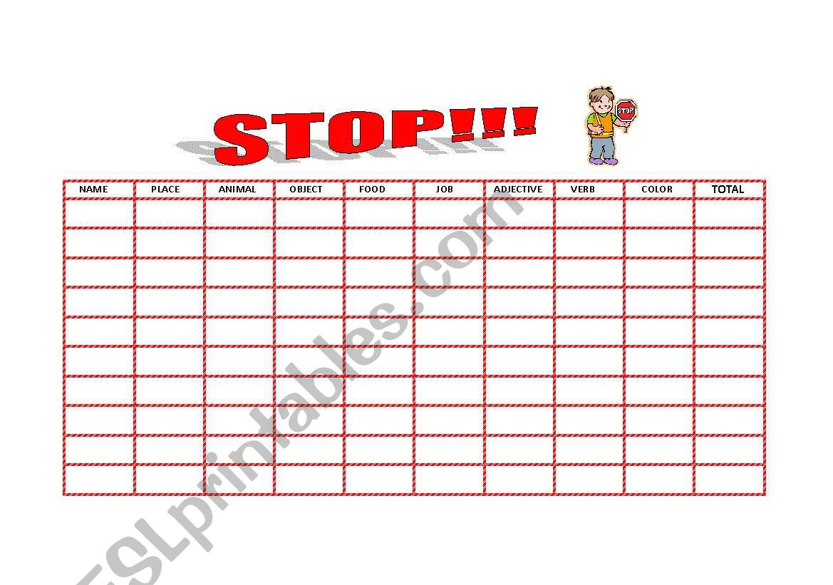 Stop And Hangman Games 2 Pages