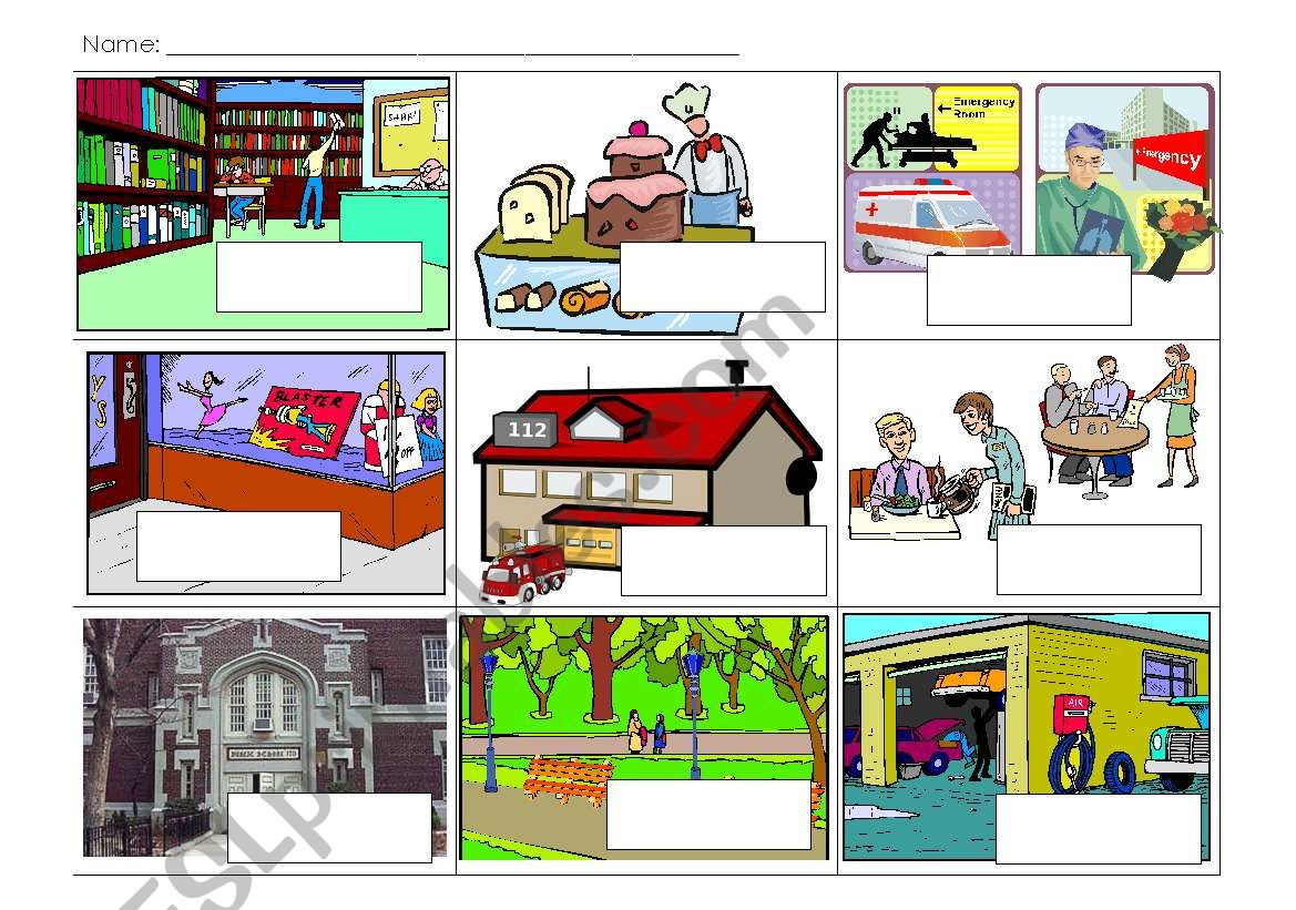English Worksheets Community Places Labelling Worksheet