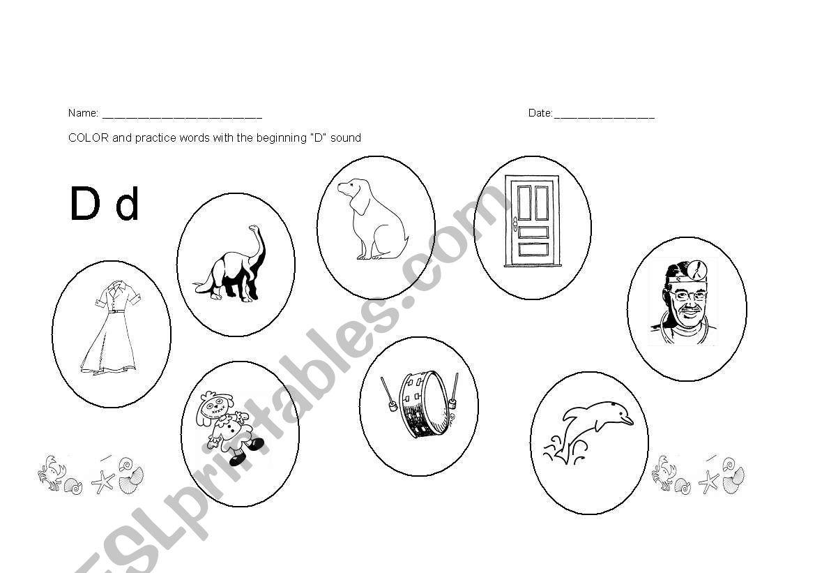 English Worksheets Phonics Letter D Worksheet