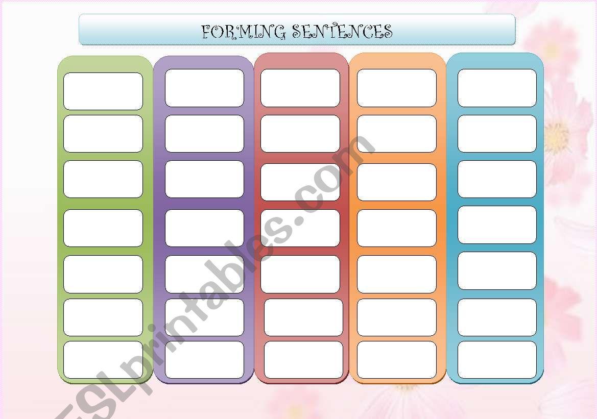 Forming Sentences Board Game