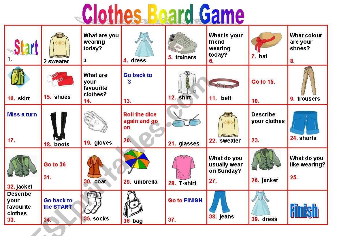 Clothes Boardgame