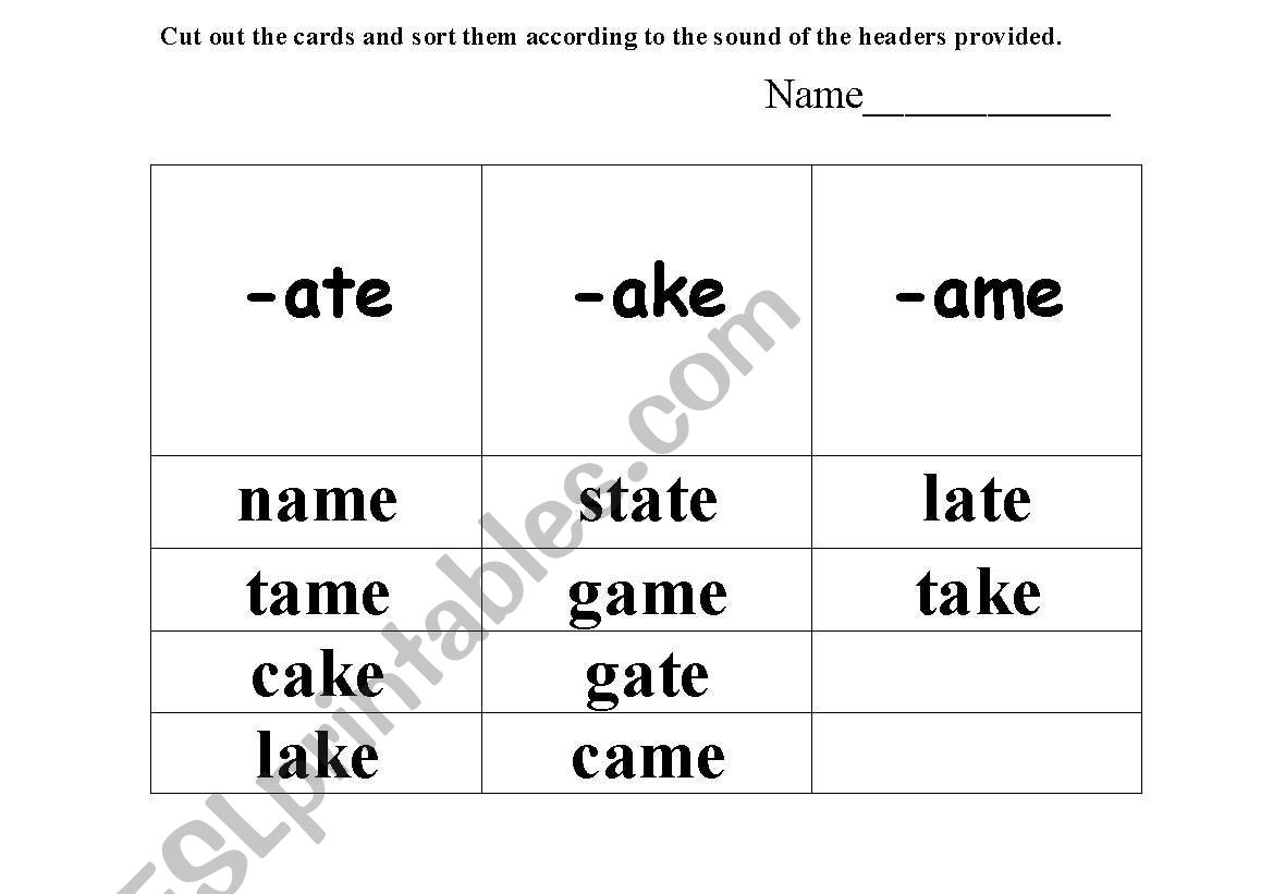 English Worksheets Phonics Sounds Ate Ake Ame Eat