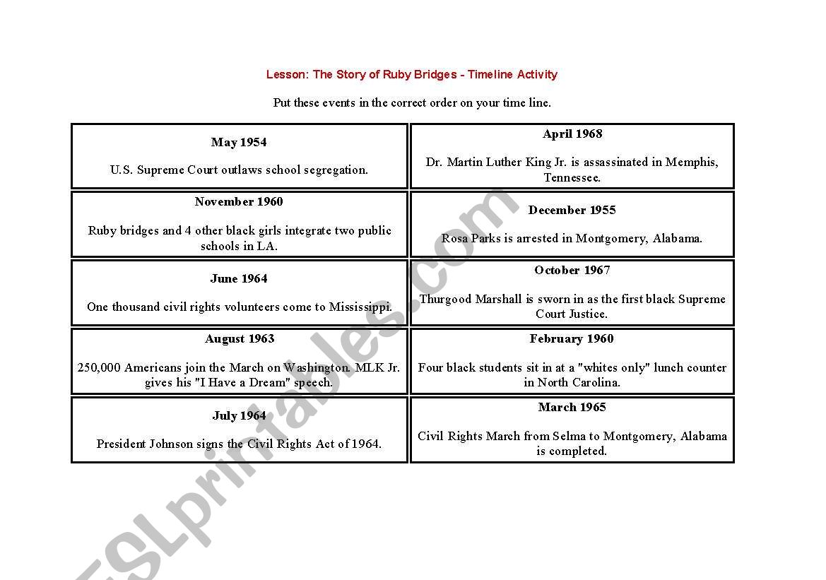 English Worksheets Ruby Bridges Timeline