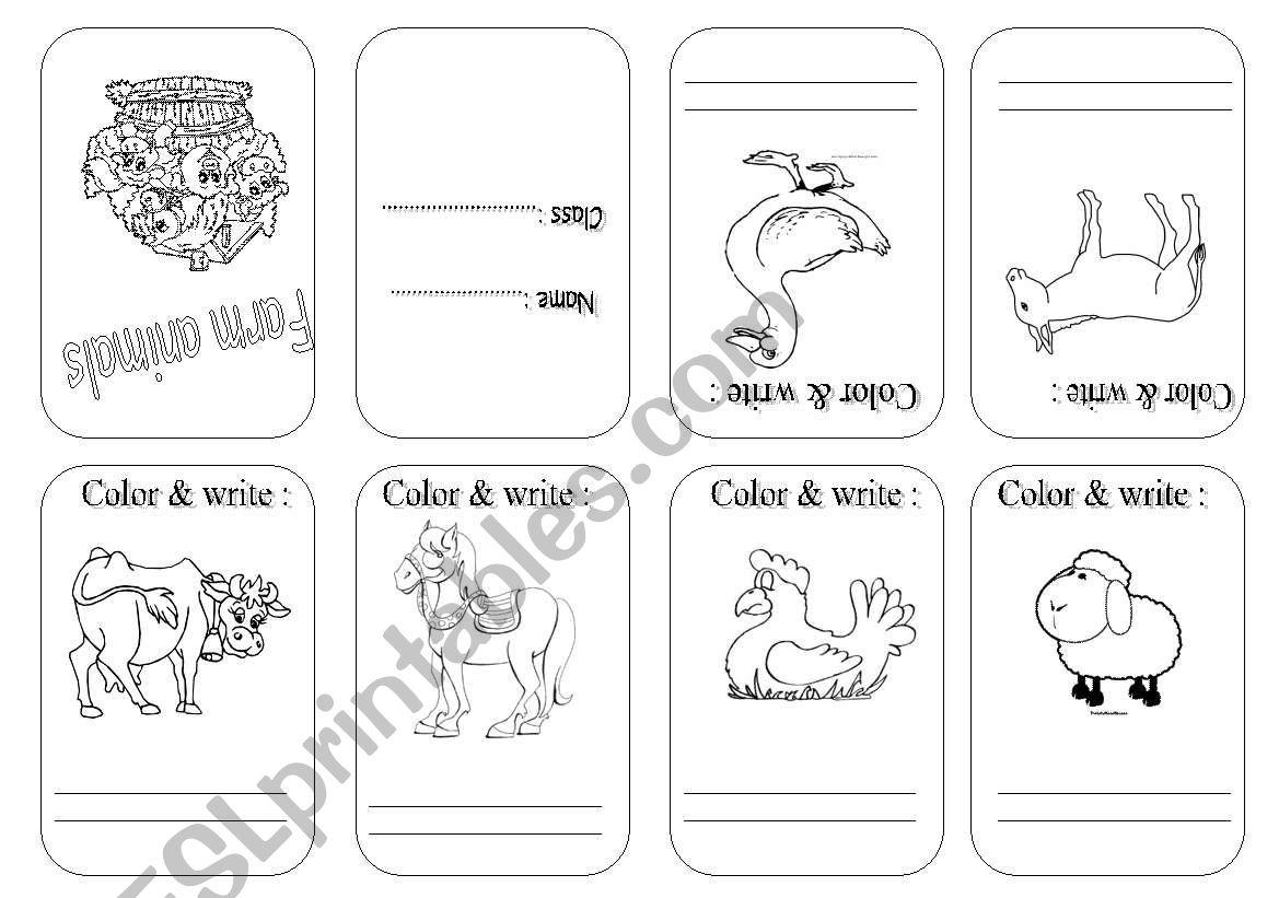 Farm Animals Mini Book B W