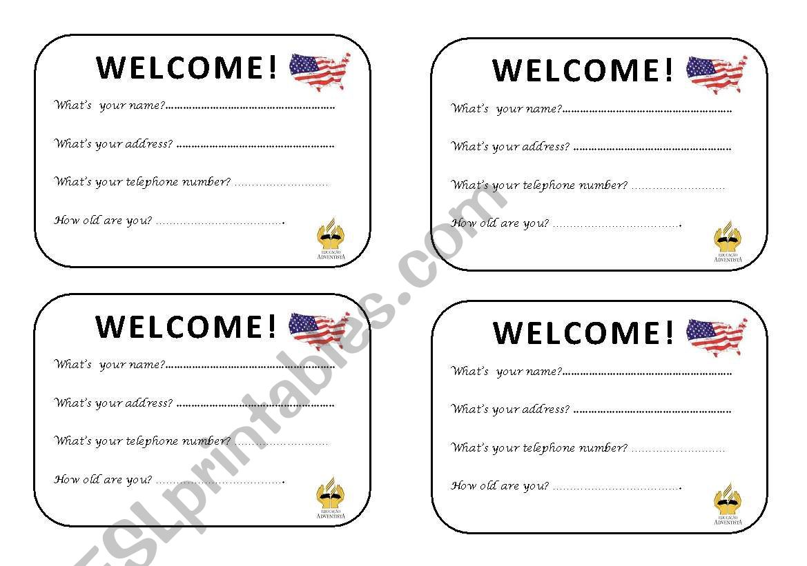 Welcome Class Oral Activity