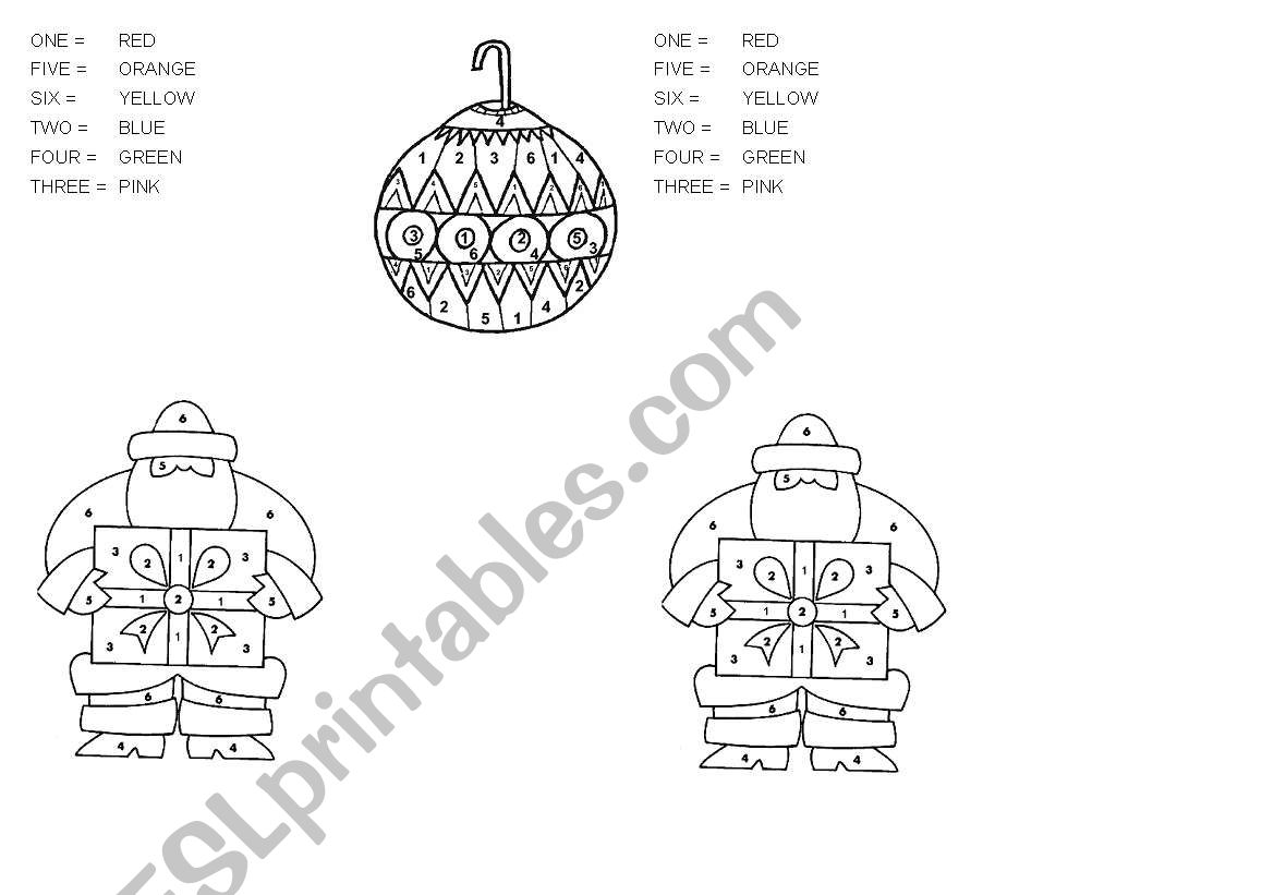 English Worksheets Christmas Coloriage Code De Noel