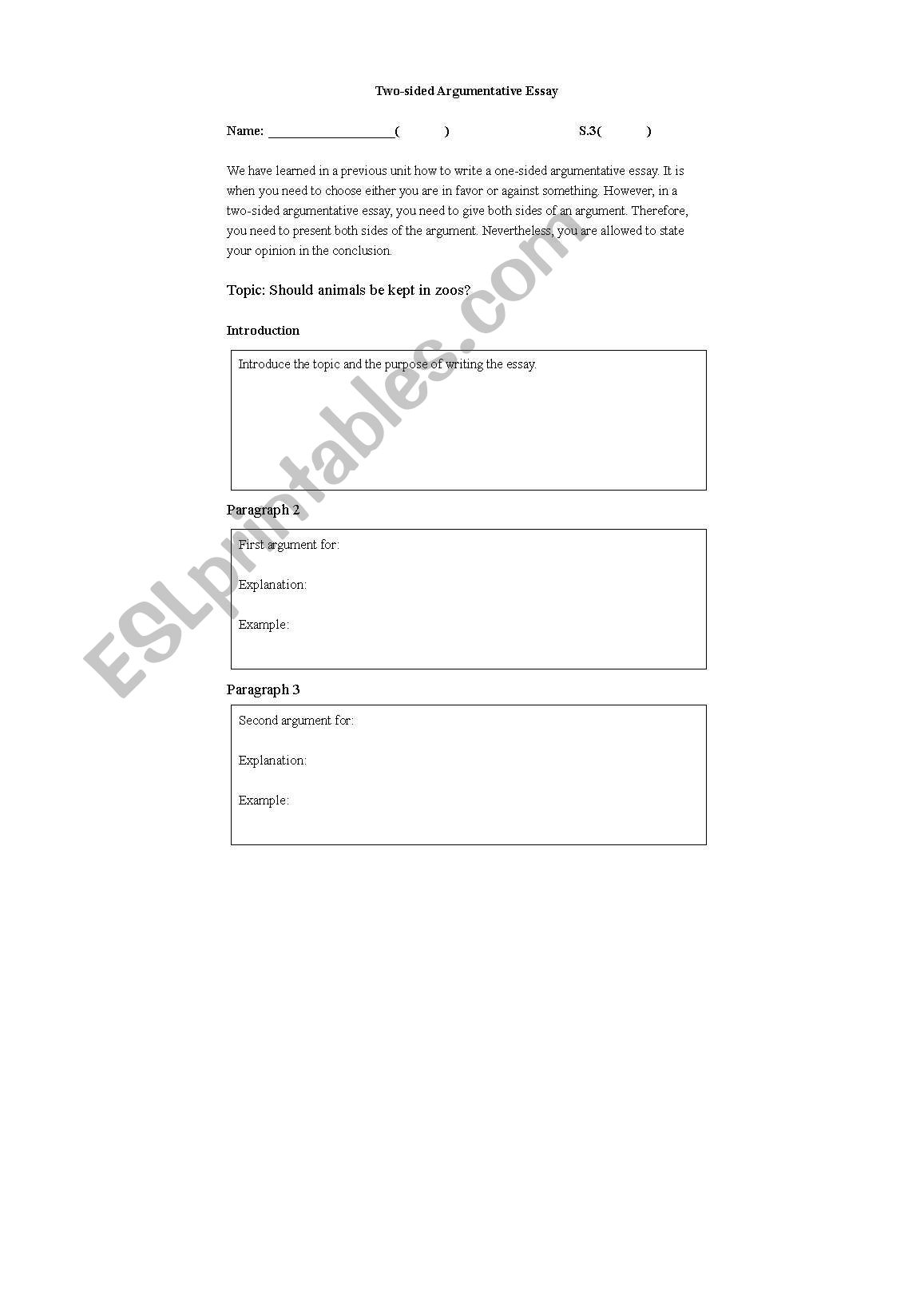English Worksheets A Guide To Writing A Double Sided