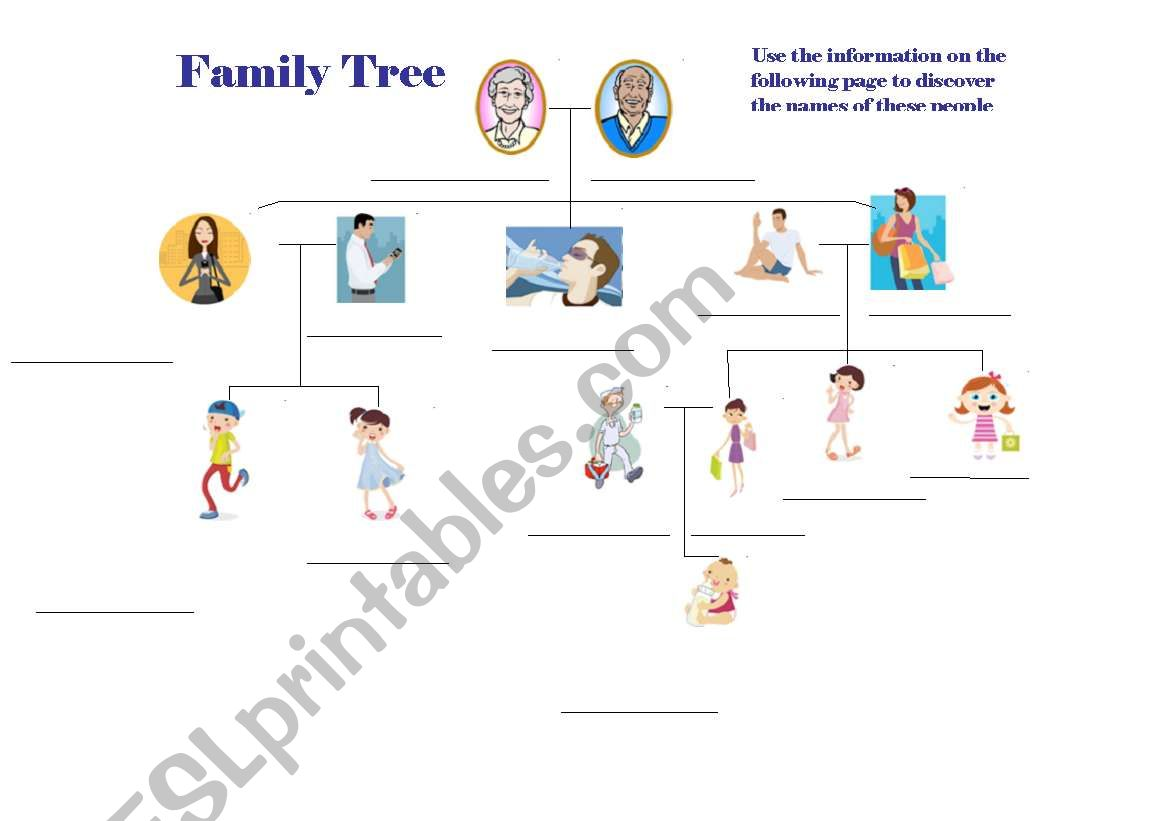 English Worksheets Family Tree Fill In The Blank Game And