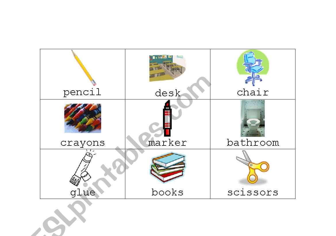 English Worksheets School Bingo