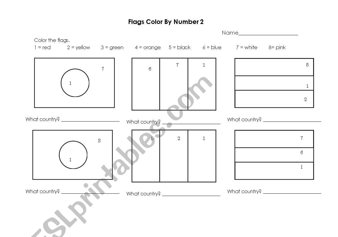 English Worksheets Flags Color By Number 2